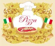 Pizza Menu Template, Vintage Card Stock Image