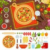 Pizza messicana con gli ingredienti a  Fotografia Stock Libera da Diritti