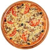 Pizza met gehakt en paddestoelen Stock Foto's