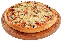 Pizza met gerookte vlees en paddestoelen Royalty-vrije Stock Fotografie