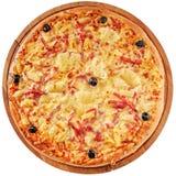 Pizza met ham en ananas Royalty-vrije Stock Fotografie