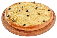 Pizza met kip en roomkaas Stock Fotografie