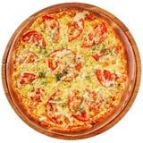 Pizza met kruidige kip en tomaten Royalty-vrije Stock Foto's