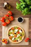 Pizza met mozarella en arugula Royalty-vrije Stock Afbeeldingen