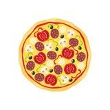 Pizza met van salamitomaten en paddestoelen beeldverhaal Kleurrijke pizza vectorillustratie stock illustratie