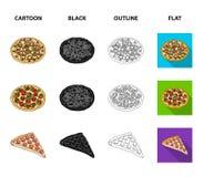Pizza met vlees, kaas en andere het vullen De verschillende pictogrammen van de pizza vastgestelde inzameling in beeldverhaal, zw stock illustratie