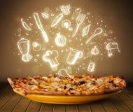 Pizza met witte restaurantpictogrammen en symbolen Royalty-vrije Stock Afbeeldingen