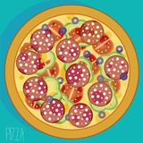 Pizza met worsten Royalty-vrije Stock Afbeelding