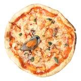 Pizza met zeevruchten Stock Foto's