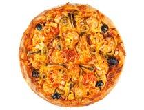 Pizza met zeevruchten stock fotografie