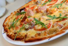 Pizza met zeevruchten Royalty-vrije Stock Foto