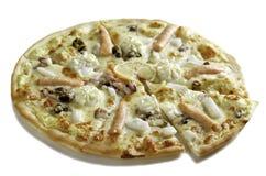 pizza met zeevruchtencocktail, zalm Stock Foto's