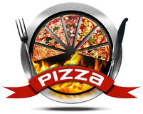 Pizza - Metal Icon with Cutlery Stock Photos