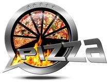 Pizza - Metallic Speech Bubble Royalty Free Stock Photography
