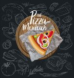 The Pizza Mexican slice with background. Vector graphics. The Pizza Mexican slice with background royalty free illustration