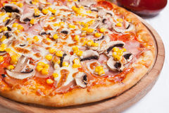 Pizza Milano with corn and mushrooms Stock Image