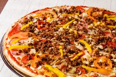 Pizza with minced meat stock images