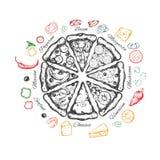Pizza mit Bestandteilen Stockfotos