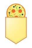 Pizza mit Fahne mit Ihren Informationen Lizenzfreie Stockfotos