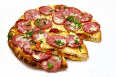 Pizza mit Fleisch 4 Stockbilder