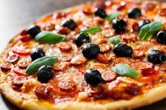 Pizza mit Mozzarellakäse, Salami, Pfeffer, Pepperonis, Tomaten, Oliven, Gewürzen und frischem Basilikum Italienische Pizza Stockfoto