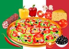 Pizza mit Salami, Flagge von Italien auf Hintergrund, Vektorillustration Stockfotos