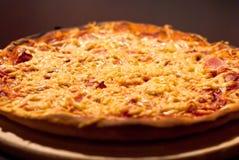 Pizza mit Schinken und chesse Lizenzfreie Stockbilder
