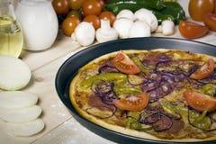 Pizza mit Soße und Teilen Lizenzfreies Stockfoto
