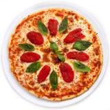Pizza mit sonnengetrockneten Tomaten und Basilikum Lizenzfreie Stockfotos