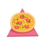 Pizza mit Tomaten und Garnelen, Teil italienisches Schnellimbiss-Küche-Restaurant-der zum Mitnehmen Zustelldienst-Sammlung von Lizenzfreies Stockfoto