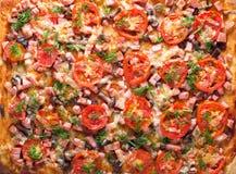Pizza mit Tomaten, Wurst und Pilzen Lizenzfreies Stockfoto