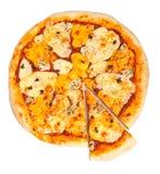 Pizza mit vier Käsen Stockbild