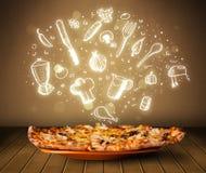 Pizza mit weißen Restaurantikonen und -symbolen Stockfotografie