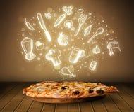 Pizza mit weißen Restaurantikonen und -symbolen Lizenzfreies Stockbild