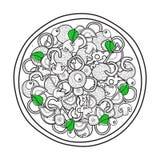 Pizza monocromatica isolata di scarabocchio con basilico su fondo bianco Fotografia Stock Libera da Diritti