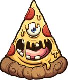 Pizza monster with a single eye. Happy pizza monster. Vector clip art illustration with simple gradients. All in a single layer royalty free illustration