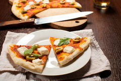 Pizza with mozzarella Royalty Free Stock Images