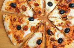 Pizza with Mozzarella, Olives and Cherry Tomatoes Stock Photography