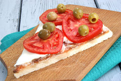 Pizza with mozzarella, tomato slices Stock Photo