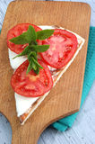 Pizza with mozzarella, tomato slices Royalty Free Stock Photo