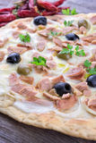 Pizza with Mozzarella, Tuna, Onions and Olives Stock Photography