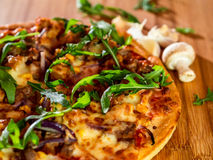 Pizza, Mushroom and Garlic Royalty Free Stock Image