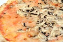 Pizza with mushrooms. Mozzarella cheese and champignon mushrooms topping the italian pizza Royalty Free Stock Photos