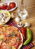 Pizza with mushrooms Stock Photos