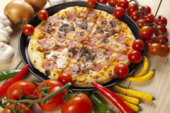 Pizza with mushrooms Royalty Free Stock Photos
