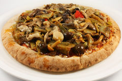 Pizza with mushrooms and artichokes Royalty Free Stock Photo