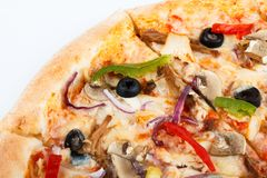 Fresh italian pizza close up. set menu photo. traditional food royalty free stock photography