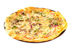 Pizza with mushrooms and cheese Stock Image