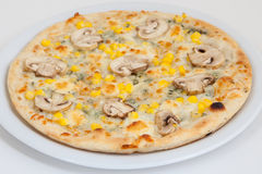 Pizza with mushrooms and corn Stock Photos