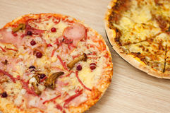 pizza with mushrooms and ham Royalty Free Stock Image